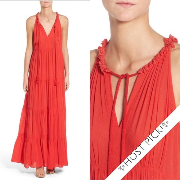 ella moss Womens Nete Tiered Maxi Dress